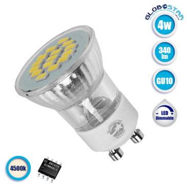 Λάμπα LED Σποτ M35 GU10 4W 230V 340lm 120° Φυσικό Λευκό 4500k GloboStar 90601