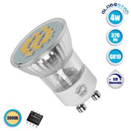 Λάμπα LED Σποτ M35 GU10 4W 230V 320lm 120° Θερμό Λευκό 3000k GloboStar 90602