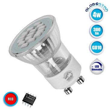 Λάμπα LED Σποτ M35 GU10 4W 230V 300lm 120° Κόκκινο GloboStar 90603