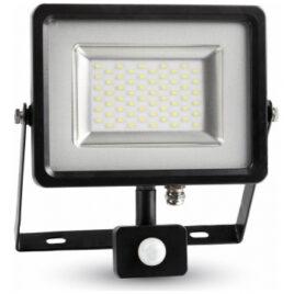 LED Προβολέας 30W slim SMD με Ανιχνευτή Κίνησης IP44 Γκρι/ Μαύρος Θερμό Λευκό 5699