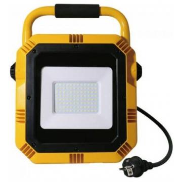 LED Προβολέας Φορητός V-TAC 50W με Stand και Σούκο Πρίζα  Samsung Chip Κίτρινο Σώμα Φως Ημέρας 945