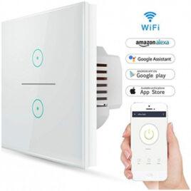 V-TAC Έξυπνος Διακόπτης Αφής Διπλός Κ/Μ Λευκός με WiFi Συμβατός με Amazon Alexa και Google Home (8418)