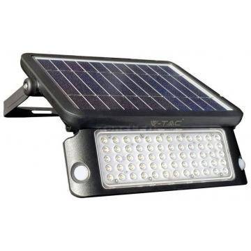 V-TAC LED Ηλιακός Προβολέας 10W Μαύρος με Ανιχνευτή κίνησης Φως Ημέρας 8550