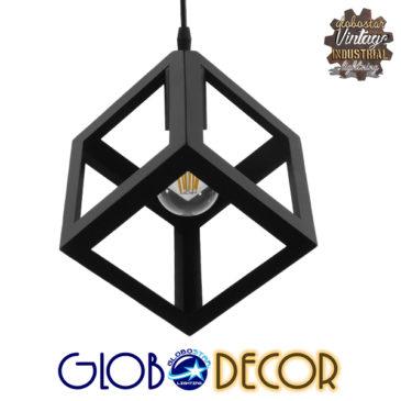 Μοντέρνο Κρεμαστό Φωτιστικό Οροφής Μονόφωτο Μαύρο Μεταλλικό Πλέγμα Φ25 GloboStar CUBE 01015