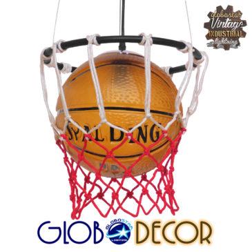Μοντέρνο Κρεμαστό Φωτιστικό Οροφής Μονόφωτο Πορτοκαλί Μεταλλικό Πλέγμα Φ32 GloboStar NBA  01027