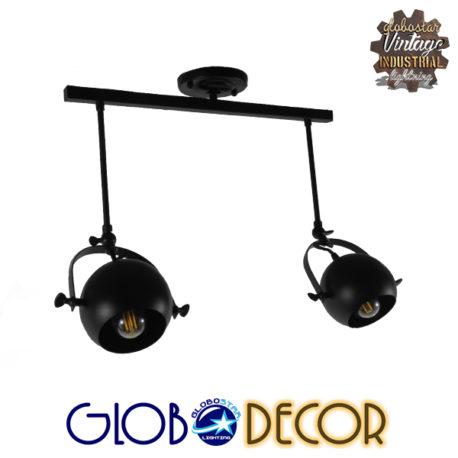 Μοντέρνο Φωτιστικό Οροφής Δίφωτο Μαύρο Μεταλλικό Ράγα GloboStar CANNES 01081