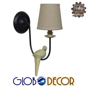 Vintage Φωτιστικό Τοίχου Απλίκα Μονόφωτο Μαύρο Μεταλλικό με Υφασμάτινο Μπεζ Καπέλο Φ16 GloboStar DOVE 01084