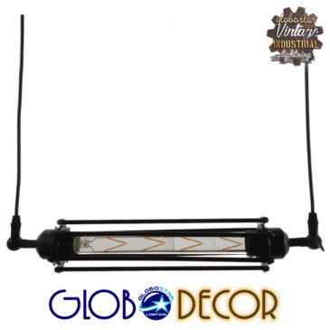 Vintage Industrial Κρεμαστό Φωτιστικό Οροφής Μαύρο Μεταλλικό με Γυαλί GloboStar TUBE 01085