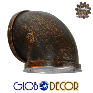 Vintage Industrial Φωτιστικό Τοίχου Απλίκα Μονόφωτο LED Μαύρο Σκουριά Μεταλλικό Φ13 GloboStar ANTHY 01104