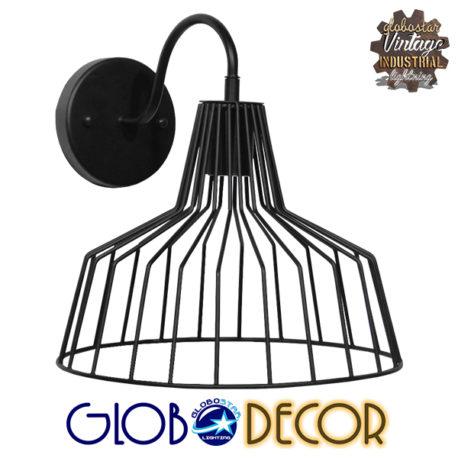 Vintage Industrial Φωτιστικό Τοίχου Απλίκα Μονόφωτο Μαύρο Μεταλλικό Πλέγμα Καμπάνα Φ30 GloboStar TRIUMPH 01117
