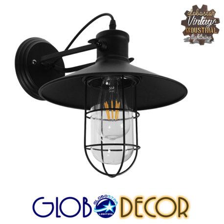 Vintage Industrial Φωτιστικό Τοίχου Απλίκα Μονόφωτο Μαύρο Μεταλλικό Πλέγμα με Καμπάνα Φ27 GloboStar CELL 01118