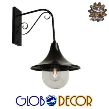 Vintage Φωτιστικό Τοίχου Απλίκα Μονόφωτο Μαύρο Μεταλλικό Καμπάνα Φ28 GloboStar ANNIEL BLACK 01123