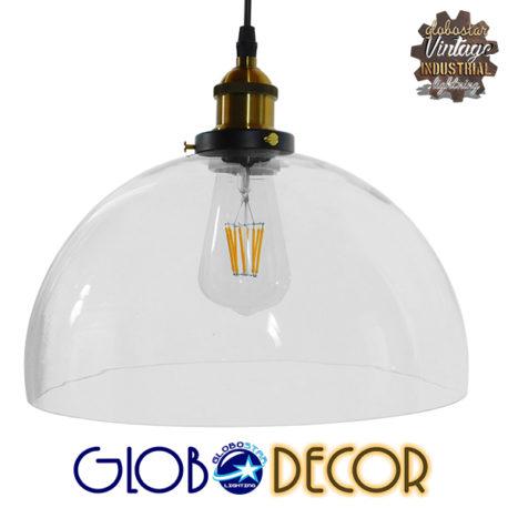 Vintage Κρεμαστό Φωτιστικό Οροφής Μονόφωτο Γυάλινο Καμπάνα Φ30 GloboStar DARCY 01171