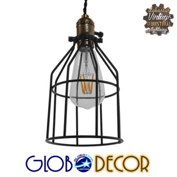 Vintage Industrial Κρεμαστό Φωτιστικό Οροφής Μονόφωτο Μαύρο Μεταλλικό Πλέγμα Φ14 GloboStar GALOT 01179