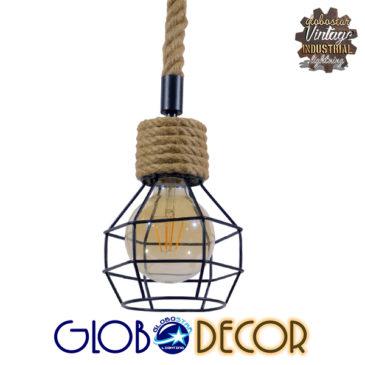 Vintage Industrial Κρεμαστό Φωτιστικό Οροφής Μονόφωτο Μαύρο Μεταλλικό Πλέγμα με Μπεζ Σχοινί Φ16 GloboStar HELLET 01182