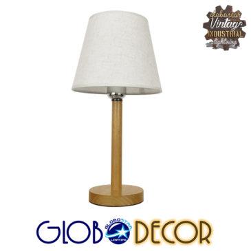 Μοντέρνο Επιτραπέζιο Φωτιστικό Πορτατίφ Μονόφωτο Ξύλινο με Λευκό Καπέλο Φ21 GloboStar NAPHIE 01208