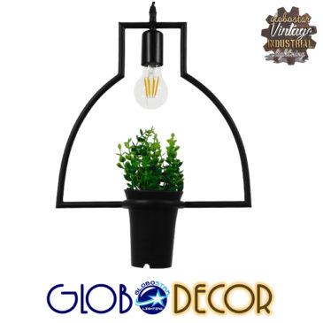 Μοντέρνο Κρεμαστό Φωτιστικό Οροφής Μονόφωτο Μαύρο Μεταλλικό Flowerpot Φ34 GloboStar KERRIA 01209