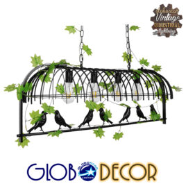 Vintage Industrial Κρεμαστό Φωτιστικό Οροφής Πολύφωτο Mαύρο Μεταλλικό Πλέγμα GloboStar NEST 01255