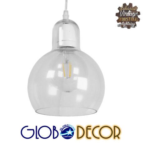 Μοντέρνο Κρεμαστό Φωτιστικό Οροφής Μονόφωτο Γυάλινο Διάφανο Φ18 GloboStar LUCREZIA 01314