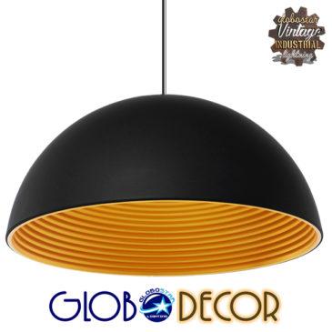 Μοντέρνο Κρεμαστό Φωτιστικό Οροφής Μονόφωτο Μαύρο Χρυσό Μεταλλικό Καμπάνα Φ60 GloboStar MEDEA 01344