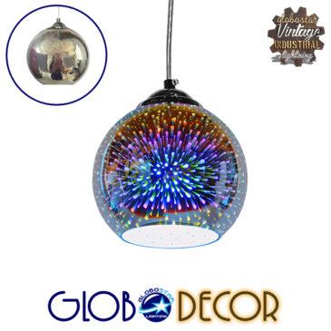 Μοντέρνο Κρεμαστό Φωτιστικό Οροφής Μονόφωτο Γυάλινο Νίκελ 3D Φ15 GloboStar MERCURY 01345