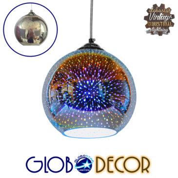 Μοντέρνο Κρεμαστό Φωτιστικό Οροφής Μονόφωτο Γυάλινο Νίκελ 3D Φ20 GloboStar VENUS 01346