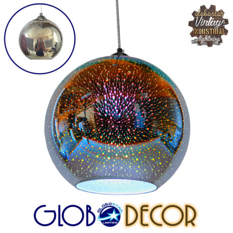Μοντέρνο Κρεμαστό Φωτιστικό Οροφής Μονόφωτο Γυάλινο Νίκελ 3D Φ30 GloboStar AUDREY 01348