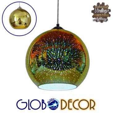 Μοντέρνο Κρεμαστό Φωτιστικό Οροφής Μονόφωτο Γυάλινο Νίκελ Χρυσό 3D Φ25 GloboStar SATURN 01351