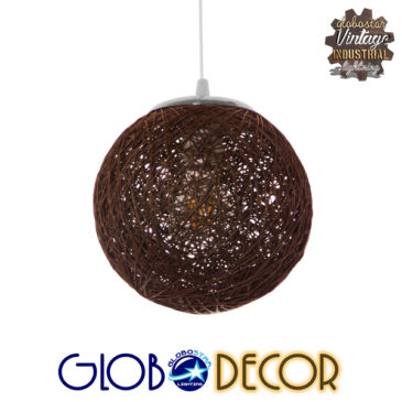 Vintage Κρεμαστό Φωτιστικό Οροφής Μονόφωτο Καφέ Ξύλινο Ψάθινο Rattan Φ20 GloboStar OHIO 01354