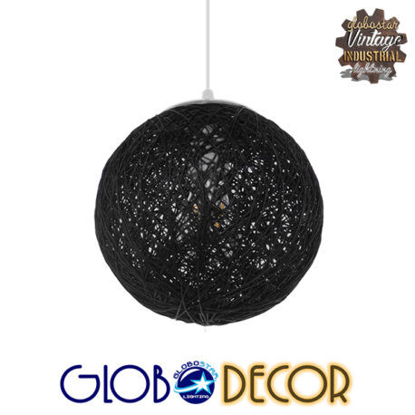 Vintage Κρεμαστό Φωτιστικό Οροφής Μονόφωτο Μαύρο Ξύλινο Ψάθινο Rattan Φ20 GloboStar ECOS 01356