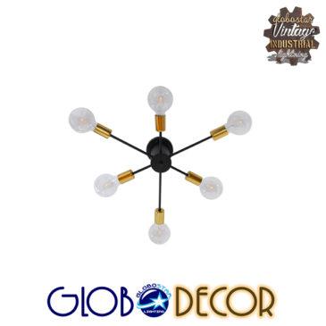 Μοντέρνο Industrial Φωτιστικό Οροφής Πολύφωτο Μαύρο Μεταλλικό Φ58 GloboStar DAMASCO 01384