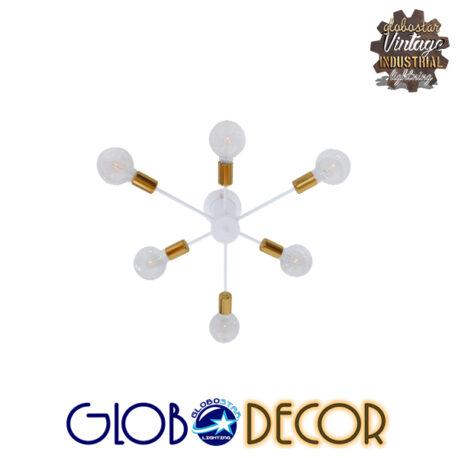 Μοντέρνο Industrial Φωτιστικό Οροφής Πολύφωτο Λευκό Μεταλλικό Φ58 GloboStar IMPLODE 01385