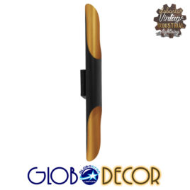 Μοντέρνο Φωτιστικό Τοίχου Απλίκα Δίφωτο Μαύρο Χρυσό Μεταλλικό GloboStar CHARME 01302