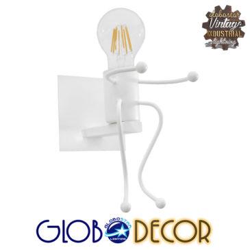 Μοντέρνο Φωτιστικό Τοίχου Απλίκα Μονόφωτο Λευκό Μεταλλικό GloboStar CLAY 01389