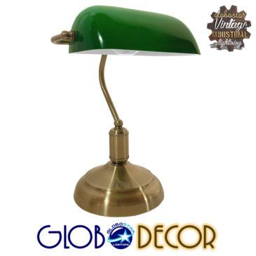 Vintage Επιτραπέζιο Φωτιστικό Πορτατίφ Μονόφωτο Μεταλλικό Χρυσό Μπρούτζινο με Πράσινο Καπέλο GloboStar BANKER GREEN 01391