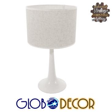 Μοντέρνο Επιτραπέζιο Φωτιστικό Πορτατίφ Μονόφωτο Μεταλλικό με Λευκό Καπέλο Φ25 GloboStar AMBROSIA WHITE 01395