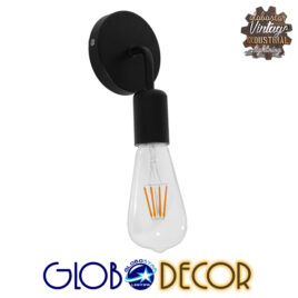 Vintage Φωτιστικό Τοίχου Απλίκα Μονόφωτο Μαύρο Μεταλλικό GloboStar DON 01396