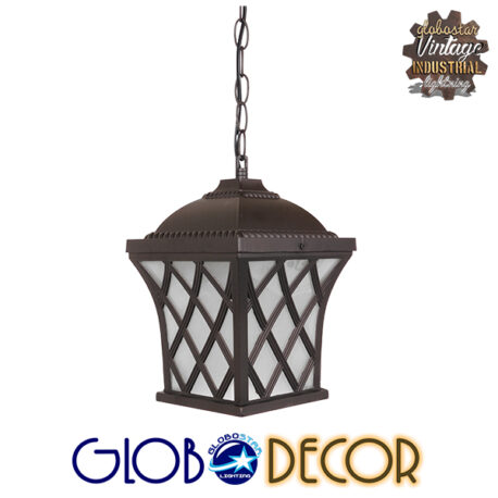 Vintage Industrial Κρεμαστό Φωτιστικό Οροφής Μονόφωτο Σκούρο Καφέ Μεταλλικό Πλέγμα GloboStar LINCOLN 01399