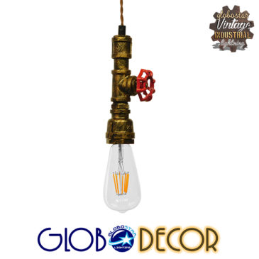 Vintage Industrial Κρεμαστό Φωτιστικό Οροφής Μονόφωτο Μπρούτζινο Μεταλλικό GloboStar SPIGOT 01413