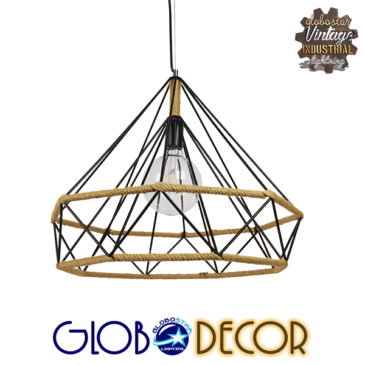 Vintage Κρεμαστό Φωτιστικό Οροφής Μονόφωτο Μαύρο Μεταλλικό με Μπεζ Σχοινί Φ50 GloboStar CONCRETE 01422