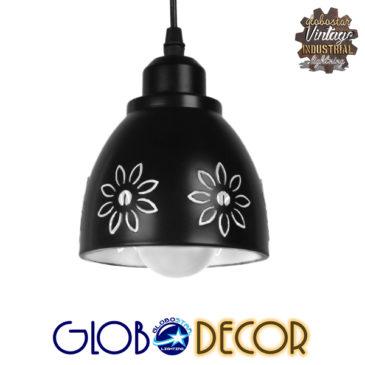 Μοντέρνο Κρεμαστό Φωτιστικό Οροφής Μονόφωτο Μεταλλικό Μαύρο Λευκό Καμπάνα Φ13 GloboStar MARGARETA 01479