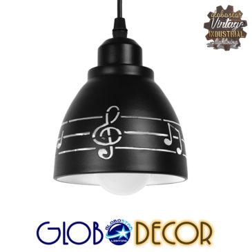 Μοντέρνο Κρεμαστό Φωτιστικό Οροφής Μονόφωτο Μεταλλικό Μαύρο Λευκό Καμπάνα Φ13 GloboStar NOTA 01480