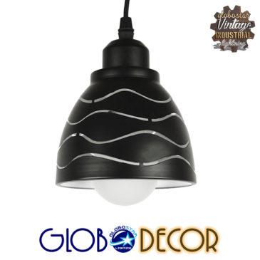 Μοντέρνο Κρεμαστό Φωτιστικό Οροφής Μονόφωτο Μεταλλικό Μαύρο Λευκό Καμπάνα Φ13 GloboStar WAVES 01481