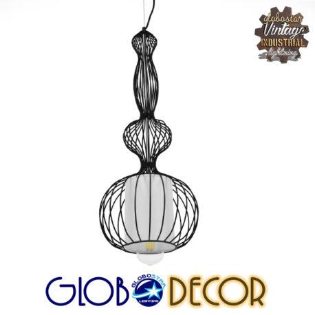 Vintage Industrial Κρεμαστό Φωτιστικό Οροφής Μονόφωτο Μαύρο Μεταλλικό Πλέγμα και Υφασμάτινο Εσωτερικό Καπέλο Φ25 GloboStar NELLY 01560