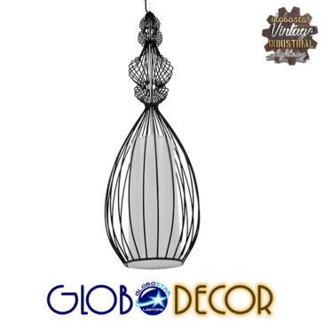 Vintage Industrial Κρεμαστό Φωτιστικό Οροφής Μονόφωτο Μαύρο Μεταλλικό Πλέγμα και Υφασμάτινο Εσωτερικό Καπέλο Φ20 GloboStar CLEO 01561