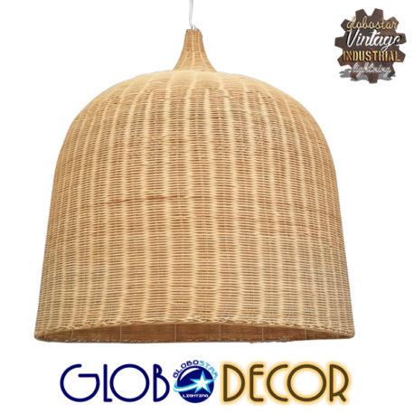Vintage Κρεμαστό Φωτιστικό Οροφής Μονόφωτο Μπεζ Ξύλινο Ψάθινο Rattan Φ90 GloboStar IVORY 01570