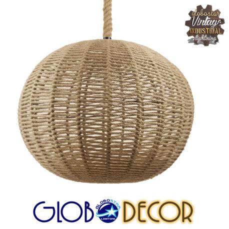 Vintage Κρεμαστό Φωτιστικό Οροφής Μονόφωτο Πλέγμα με Μπεζ Σχοινί Φ60 GloboStar LITTON 01593