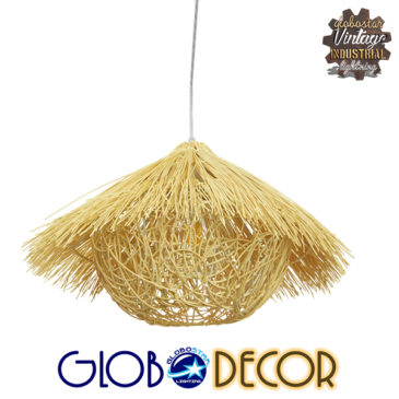 Vintage Κρεμαστό Φωτιστικό Οροφής Μονόφωτο Μπεζ Ξύλινο Ψάθινο Rattan Φ50 GloboStar CHEOPE 01599