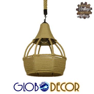Vintage Κρεμαστό Φωτιστικό Οροφής Μονόφωτο Μπεζ Καμπάνα με Σχοινί Φ31 GloboStar KUBRIC 01605