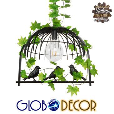 Vintage Industrial Κρεμαστό Φωτιστικό Οροφής Μονόφωτο Μαύρο Μεταλλικό Πλέγμα GloboStar MIZU 01640